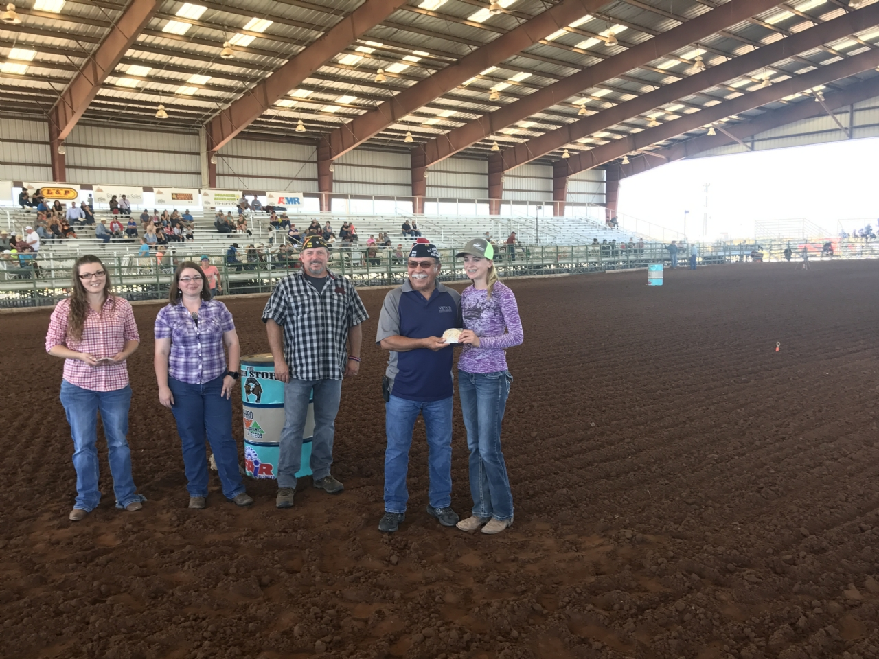 On 1 Oct 2017 VFW Post 6917 sponsored the Southern New Mexico State Fair Youth Barrel Race. Presenting the buckles to these young and talented cowgirls was Raul Sanchez and Rob Easley, This young lady won BOTH the 1D and 3D buckles.