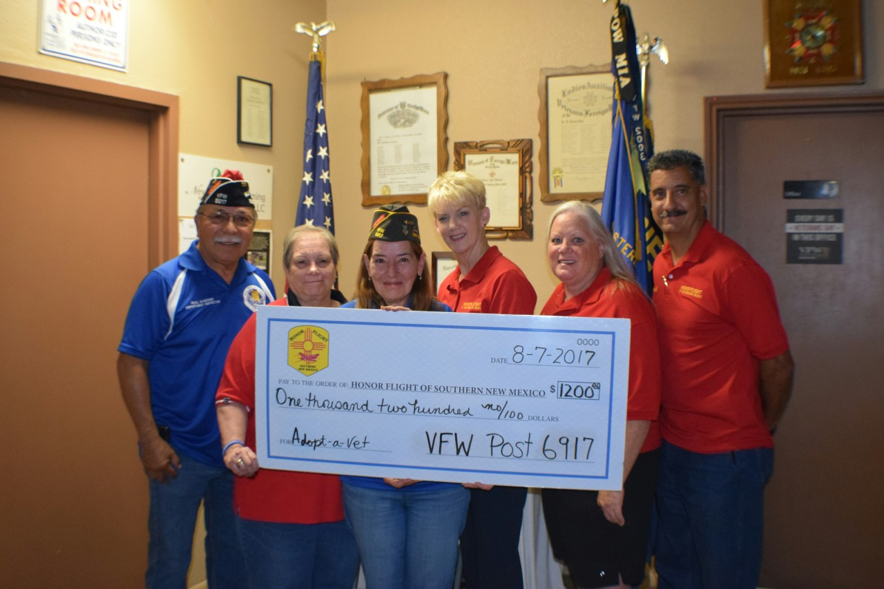 Our members gave the Honor Flight of Southern New Mexico a check to sponsor a WW2 veteran to go to the memorial in Washington DC. Pictured (left to right) Raul Sanchez Commander, Beth Miller Auxiliary President, Mary Tutza Quartermaster, Kathy Olson, Valerie Cano and Arnold Diaz, Honor Flight of Southern NM board members.